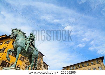XVI century Cosimo I statue in Piazza della Signoria in Florence Italy