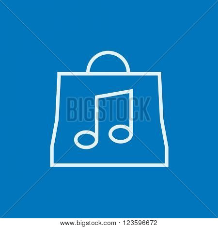 Bag with music note line icon.