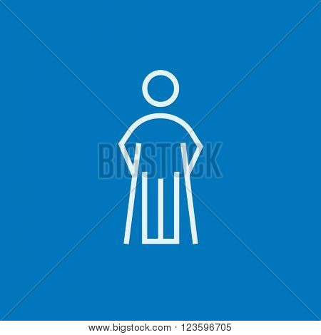 Man with crutches line icon.