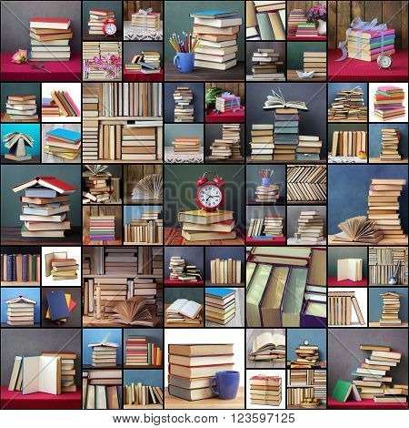 A collage of still lifes with books. Books. Back to school.