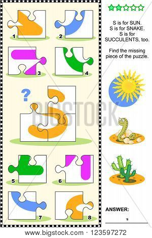 What's missing? Visual educational puzzle to learn with fun the letters of English alphabet: letter S (S is for sun, S is for snake, S is for succulents). Answer included.
