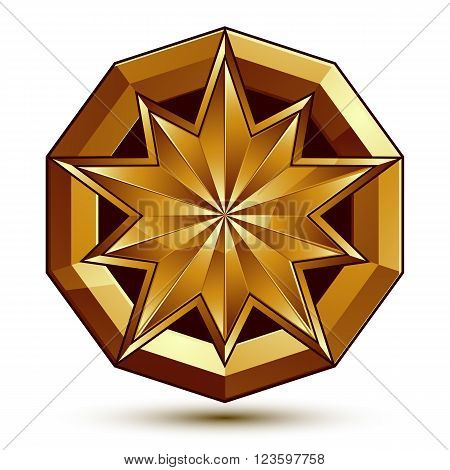 Vector classic emblem isolated on white background. Aristocratic golden star