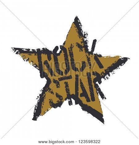 Rockstar. Grunge symbol design. Isolated on white