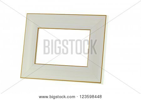 Blank beige wooden picture frame with golden border, isolated on white background