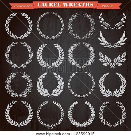 Set of laurel heraldic award wreaths vector