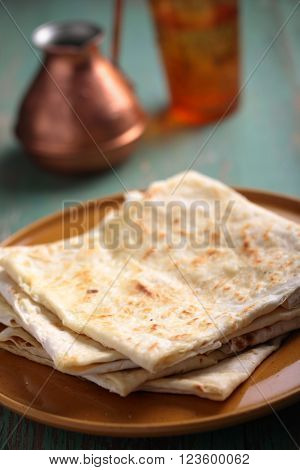 Stack of gozleme, the traditional Turkish pastry with cheese