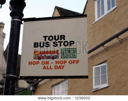 Sign . Tour Bus Stop Sign.