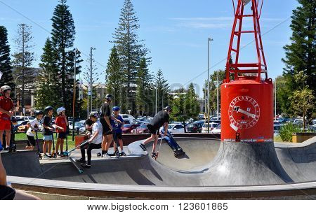 FREMANTLE,WA,AUSTRALIA-OCTOBER 1,2015: Scootering clinic at the Esplanade Youth Plaza in Fremantle, Western Australia.