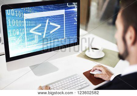 Binary Code Html Web Programming Concept