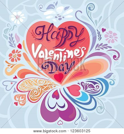 Vintage Retro pastel decorative vector Valentine's Day card design