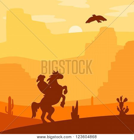 Retro Wild West Hero on galloping horse in desert. Vintage sunset in prairie with cowboy cacti and eagle in sky. Grunge old texture. Natural Landscape for print poster illustration sticker. Vector