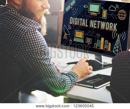 Digital Global Communication Transfer Network Online Cloud Concept