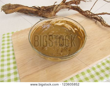 Healing clay paste from water and medicinal clay