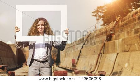 Businesswoman Picture Frame Holding Concept