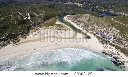 Aerial view of the River Mouth, Margaret River Western Australia