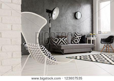 Trendy Monochromatic Grey Living Room
