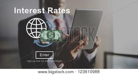 Interest Rates Loan Money Percentage Profit Concept