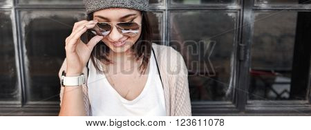 Woman Hipster Fashion Style Lifestyle Concept