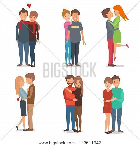 Boys and girls couple in love. People and love family. Vector illustration. Design and inforgaphic elements isolated on white background.
