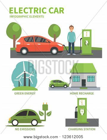 Electric car flat infographic elements. Man charging Electric car on charging station. Electric car infographic icons. Vector illustration isolated on white background.