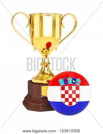 3d rendering of gold trophy cup and soccer football ball with Croatia flag isolated on white background