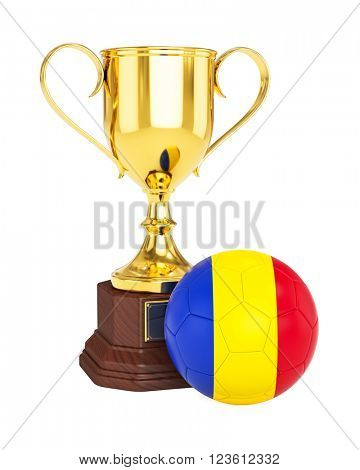 3d rendering of gold trophy cup and soccer football ball with Romania flag isolated on white background