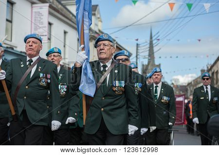 ATHENRY IRELAND - MARCH 28: Members of Defence forces taking part in Parade during State ceremony marking the centenary of the 1916 Easter Rising on March 28 2016 in Athenry Ireland.