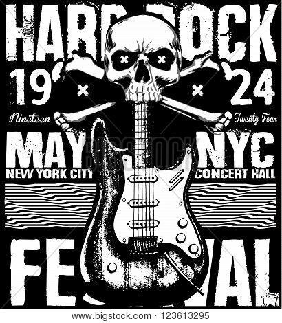 Rock poster grunge monochrome hipster vintage label badge flayer