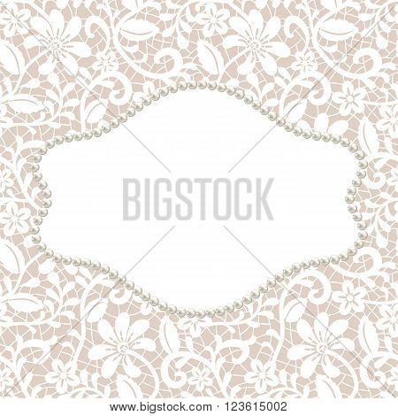 White lace with floral pattern and pearl frame on beige background