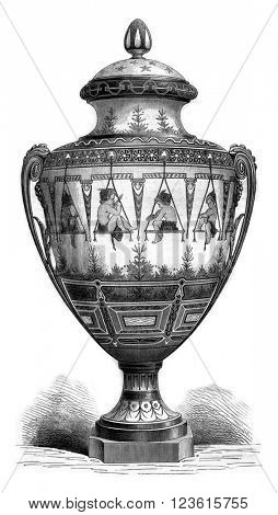 Manufacture de Sevres, The Painters, enamel vase decorated in relief, vintage engraved illustration. Magasin Pittoresque 1880.