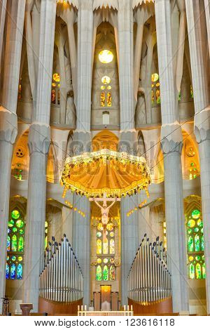 Barcelona, Spain - Jun 10:Interior of  La Sagrada Familia - designed by Gaudi, which is being build since 19 March 1882 and is not finished yet Jun 10, 2014 in Barcelona, Spain.