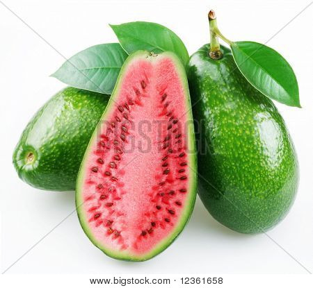Flesh of watermelon on the cut avocado. Product of genetic engineering. Computer assembly.
