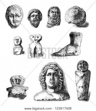 Ex voto Gallo Roman Museum of Senlis, vintage engraved illustration. Magasin Pittoresque 1876.
