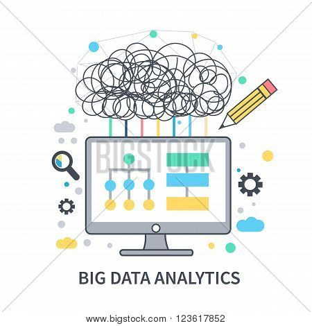 Big data concept vector illustration. Big data mining and research concept. Modern linear style.