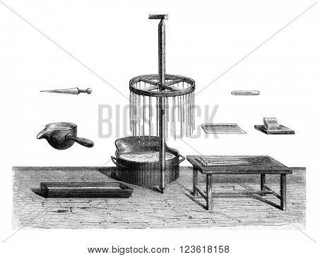 Utensils for making candles, vintage engraved illustration. Magasin Pittoresque 1873.