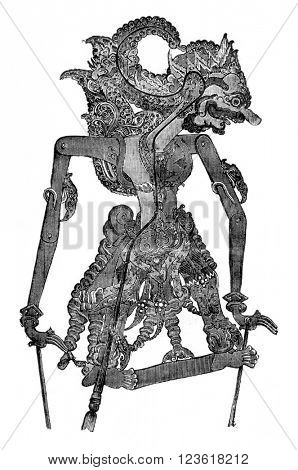 Kamsa, the Wayang-Purwa character, vintage engraved illustration. Magasin Pittoresque 1876.