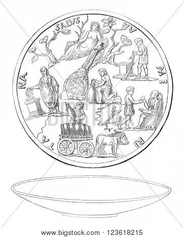 Section of antique silver representing a spa, vintage engraved illustration. Magasin Pittoresque 1878.