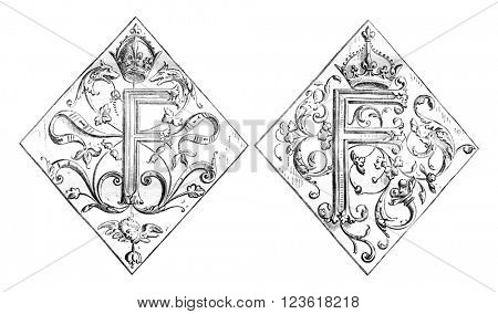 Carved panels from Chambord Castle, vintage engraved illustration. Magasin Pittoresque 1876.