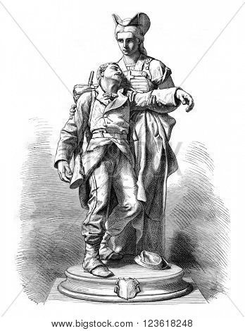 Switzerland hosting the French Army, vintage engraved illustration. Magasin Pittoresque 1876.