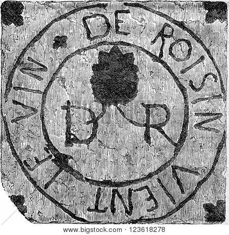 Registration tile of the church chapel Saint Amand les Eaux, North, Sixteenth century, vintage engraved illustration. Magasin Pittoresque 1873.