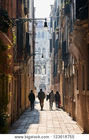 Walking People In Venice