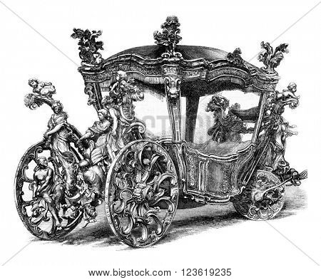 Gala car of King John IV of Portugal. Drawing Feart, after a photograph of J. Lawrence.