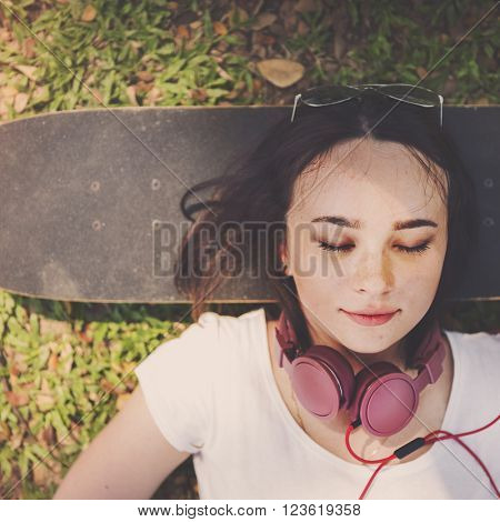 Lying Relaxation Fashion Hipster Park Style Concept