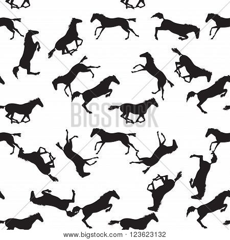 Realistic illustration of horse. Seamless pattern with silhouette of horse. Vector seamless pattern with horses. Black horse seamless pattern on isolated background