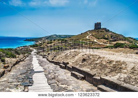 path by the sea in Tharros Italy