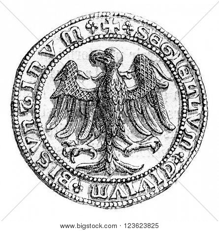 Small seal of the town of Besancon, beginning of the fifteenth century, vintage engraved illustration. Magasin Pittoresque 1870.