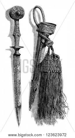 Hunting knife and sheath that belonged to the Marquis de Valseca, vintage engraved illustration. Magasin Pittoresque 1873.