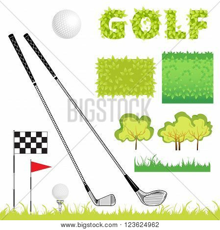 Sport elements can use for design. Golf icon set. Vector Set Golf Equipment Icons. Golf collection include: grass bush flag holeball tee stick club