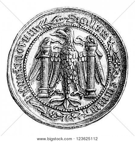 Small seal of the town of Besancon, middle of the fifteenth century, vintage engraved illustration. Magasin Pittoresque 1870.