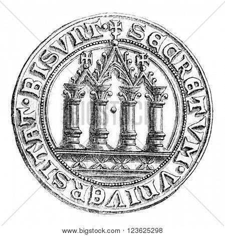 Small seal of the town of Besancon, vintage engraved illustration. Magasin Pittoresque 1870.